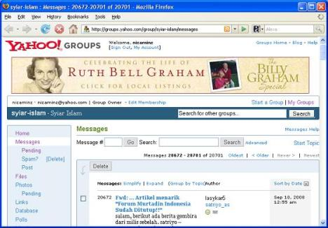 Iklan Penginjil Billy Graham di Milis Islam Gratis Yahoogroups