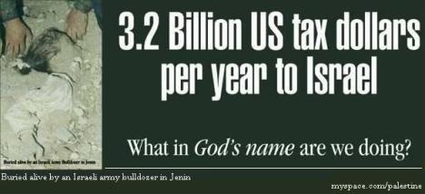 US tax payers money sent to Israel by US government